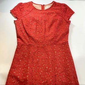 LOFT | Burnt Orange Floral Cut Out Dress 4